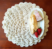 Biała powszechna dzianina dla twój śniadania Zdjęcia Royalty Free
