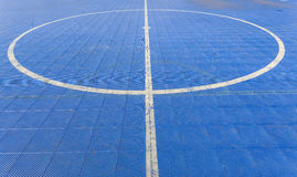 Biała Prosta i okrąg linia na Futsal polu Obraz Stock