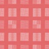 Biała ręka rysujący indywidualni doodle kwadraty różni kształty Geometryczny bezszwowy wzór na koralowej siatce textured ilustracja wektor