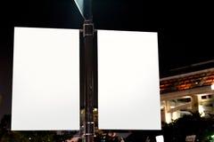 Biała reklamy przestrzeni reklama podpisuje wewnątrz centrum handlowe Obraz Royalty Free