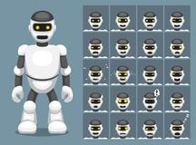 Biała robot kreskówki emocja stawia czoło Wektorową ilustrację ilustracji