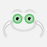 Biała rysunkowa żaba z zielonymi oczami ilustracji