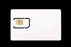 Biała sim karta dla telefonu komórkowego czarny tło Zdjęcia Stock