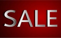 Biała sprzedaż podpisuje czerwonego tło Zdjęcie Stock
