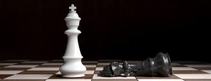 Biała szachowa królewiątko pozycja na szachowej desce, czarny królewiątko puszek łamający ilustracja 3 d ilustracja wektor