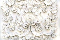 Biała tajlandzka sztuka stiuku ściana Zdjęcie Stock