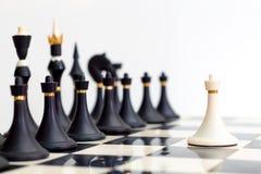 Biała zastawnicza pozycja przed czarnymi kawałkami Obraz Royalty Free