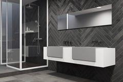Biała zlew bezcelowości jednostka w czarnej łazienki stronie Obrazy Stock