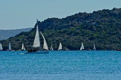 Białe żeglowanie łodzie robi szkoły w morzu zdjęcie royalty free