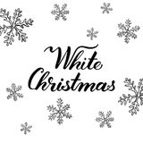 Białe Boże Narodzenia! Ręka rysujący graficzny literowanie i elementy Zdjęcia Stock