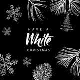 Białe Boże Narodzenia! Wręcza pisać bożego narodzenia doodle na czarnym tle i literowanie Obraz Royalty Free