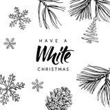 Białe Boże Narodzenia! Wręcza pisać literowanie i wręcza patroszonego Zdjęcia Stock
