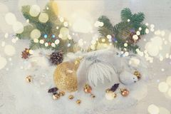 Białe Boże Narodzenia z śniegiem Obrazy Stock