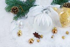 Białe Boże Narodzenia z śniegiem Obraz Royalty Free