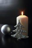 Białe Boże Narodzenie świeczka Fotografia Royalty Free
