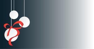 Białe Boże Narodzenie piłki z faborku i kopii przestrzenią Fotografia Stock