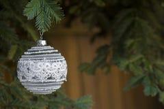 Białe Boże Narodzenie wystroju ornamentu rocznika styl Fotografia Stock