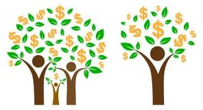 białe drzewo odizolowane pieniądze Zdjęcia Stock