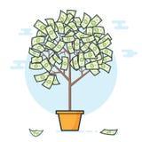 białe drzewo odizolowane pieniądze Pieniądze narastający pojęcie Płaski projekt Obraz Royalty Free