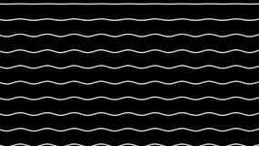 Białe faliste linie ruszają się up na czarnym tle royalty ilustracja