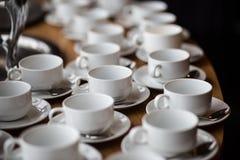Białe filiżanki kawy Fotografia Stock