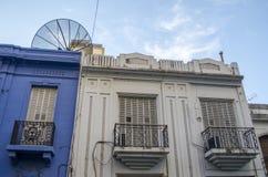 Białe i błękitne fasady Zdjęcie Stock