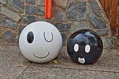 Białe i czarne piłki dla Halloween w HDR Fotografia Stock
