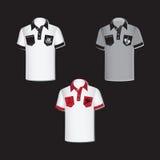 Białe i szare mężczyzna ` s koszula z emblematami ilustracji