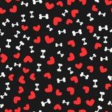 Białe kości dla psów i czerwieni serc przypadkowo rozpraszali na czarnym tle bezszwowy wzoru Zdjęcia Stock