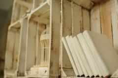 Białe książki na drewnianej półce w rocznika wnętrzu Obrazy Stock