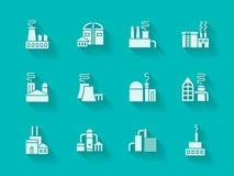 Białe nowożytne ikony dla przemysłowych budynków Fotografia Stock