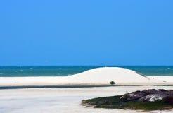 Białe piasek diuny i plaża Zdjęcia Stock