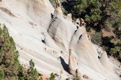 Białe piasek falezy są malowniczymi górami Księżycowy krajobrazowy Paisaje Księżycowy Vilaflor wioska, Tenerife, kanarek Obraz Stock