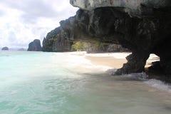 Białe piasek plaże Palawan wyspa fotografia stock