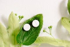Białe pigułki na zielonym liściu, naturalny medycyny pojęcie zdjęcie stock