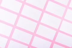 Białe Puste wizytówki Na Różowym tle Z Papierową teksturą Obrazy Stock