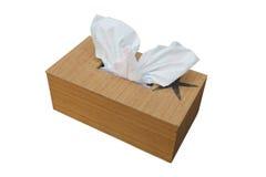 Białe tkanki strzela out od drewnianego pudełka Obrazy Royalty Free