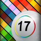 Białego bingo loteryjna piłka na wielo- colours tle Zdjęcia Stock