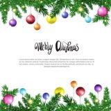 Białego Bożego Narodzenia tło Z ramą Od jodeł gałąź Dekorować Z Colofrul piłkami ilustracja wektor