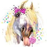 Białego konia koszulki grafika końska ilustracja z pluśnięcia akwarela textured tłem Fotografia Royalty Free