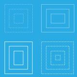 Białego kwadrata błękitnego tła kształtów geometryczne linie ilustracja wektor