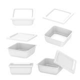 Białego kwadrata plastikowy zbiornik dla produkci żywności z clippin Obraz Stock