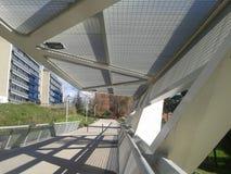 Białego metalu footbridge Fotografia Royalty Free