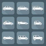 Białego mieszkanie stylu ciała różnorodni typ samochód ikony inkasowe Zdjęcia Stock