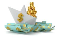 Białego papieru łodzi dolary Fotografia Stock