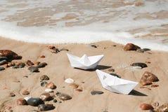 Białego papieru łodzie Obraz Stock