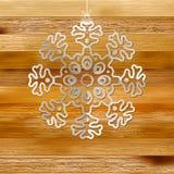Białego papieru bożych narodzeń płatek śniegu na drewnie. + EPS8 Zdjęcia Stock
