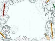 Białego papieru prześcieradło z dziecięcymi rysunkami ilustracja wektor