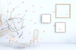 Białego pokoju tła wystrój z cios menchii liśćmi, gałąź, obrazek rama, krzesło ilustracji