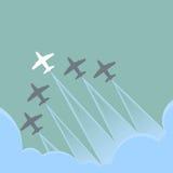 Białego samolotu czerni wiodący samolot, przywódctwo pojęcie Fotografia Stock